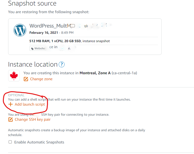 Create new instance from Snaphsot